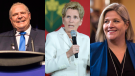 Doug Ford, left, Kathleen Wynne, centre, and Andrea Horwath, right, are seen in this composite image. Photos from The Canadian Press.