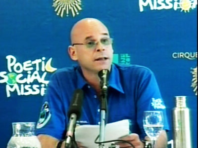 Guy Laliberte, the Canadian founder of Cirque du Soleil, speaks about his upcoming space mission during a press conference in Moscow on Thursday, June 4, 2009.
