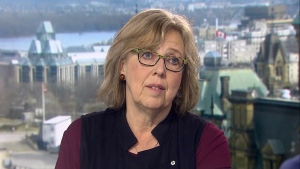 Green Party Leader Elizabeth May on CTV's Question Period on Sunday May 6, 2018. (CTV News)