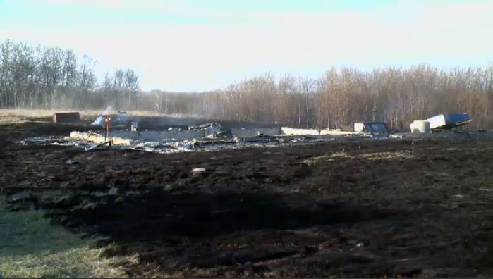A grass fire destroyed several buildings on the Standing Buffalo First Nation on Sunday afternoon.