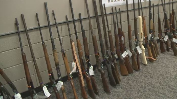 Some of the rifles surrendered in Sask.'s second gun amnesty are shown on May 7, 2018