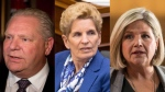 Doug Ford, Kathleen Wynne and Andrea Horwath are seen in this composite photo. (THE CANADIAN PRESS)