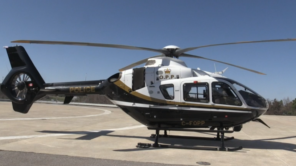 An OPP helicopter can be seen in Orillia, Ont. on Monday, May 7, 2018. (CTV Barrie)