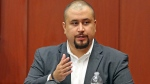 In this Sept. 13, 2016 file photo, George Zimmerman looks at the jury as he testifies in a Seminole County courtroom in Orlando, Fla. (Red Huber/Orlando Sentinel via AP, Pool, File)