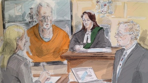 In this artist's sketch, alleged serial killer Bruce McArthur makes an appearance via video in a Toronto courtroom, Wednesday, April 11, 2018. From left, lawyer Samantha Saunders, part of McArthur's defence team, McArthur, Justice Wendy Agnew and Crown Michael Cantlon are shown. (THE CANADIAN PRESS/Alexandra Newbould)