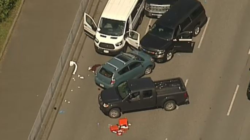 Graphic content warning: Blood can be seen on the ground at Departure Bay Ferry Terminal following an apparent police-involved shooting Tues., May 8, 2018. (CTV Chopper 9)