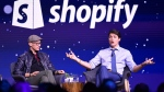 Prime Minister Justin Trudeau participates in an armchair discussion with Shopify CEO Tobias Lutke in Toronto on Tuesday, May 8, 2018. (THE CANADIAN PRESS/Nathan Denette)