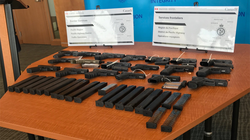 The Canadian Border Services Agency seized 19 semiautomatic handguns and 32 over-capacity magazines in a car at the Pacific Highway border crossing back in March.