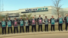 WestJet pilots picket - Calgary