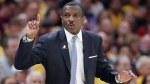 Dwane Casey gestures against the Cleveland Cavaliers in the first half of Game 4 of an NBA basketball second-round playoff series, Monday, May 7, 2018, in Cleveland. (AP Photo/Tony Dejak)