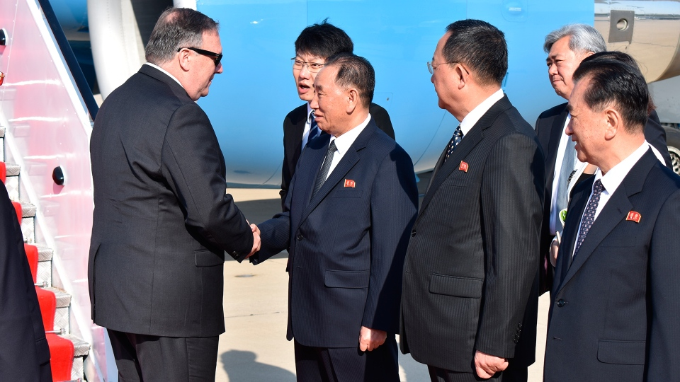 U.S. Secretary of State Mike Pompeo is greeted by senior North Korean official Kim Yong Chul, director of the United Front Department, which is responsible for North-South Korea affairs (left), and Foreign Minister Ri Su Yong, on his arrival in Pyongyang, North Korea, Wednesday, May 9, 2018. (AP / Matthew Lee)