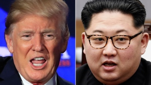 This combination of two file photos shows U.S. President Donald Trump, left, in Cleveland, Ohio, on May 5, 2018 and North Korean leader Kim Jong Un, right, in Panmunjom, South Korea, on April 27, 2018. (AP Photo/Manuel Balce Ceneta, Korea Summit Press Pool via AP)