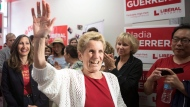 Ontario Premier Kathleen Wynne arrives at a party event to support candidate Nadia Guerrera, in Toronto on Tuesday, May 8, 2018.THE CANADIAN PRESS/Chris Young
