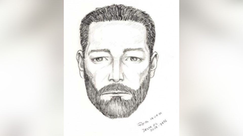 This sketch of a suspect in an April 12, 2018 sex assault in Delta, B.C. was provided by police.