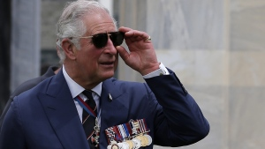 Prince Charles visits the Commonwealth War Graves in Athens on May 10, 2018. (Costas Baltas, Pool via AP)