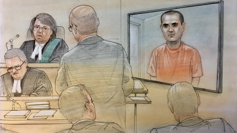 Toronto van attack suspect Alek Minassian appears in this court sketch, Thursday, May 10, 2018.