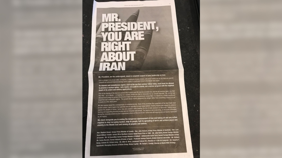 A full-page advertisement in Wednesday's new York Times endorsing U.S. President Donald Trump's Iran decision.