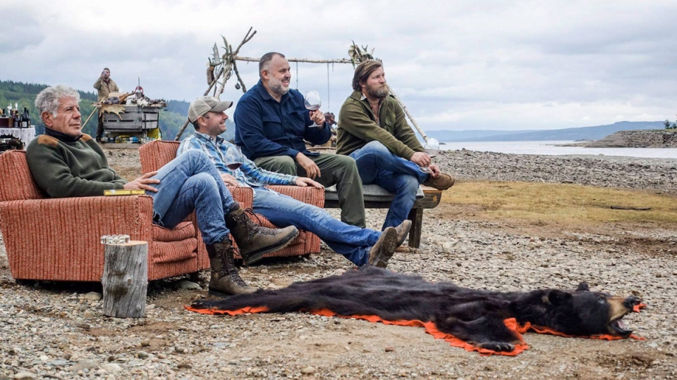 Anthony Bourdain, left, in an episode of 'Parts Unknown' featuring Newfoundland's local cuisine and landscapes. (THE CANADIAN PRESS / HO - Facebook, Anthony Bourdain: Parts Unknown)