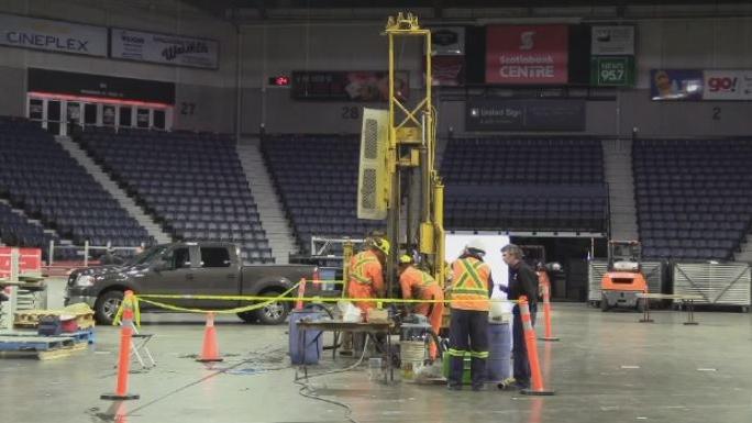 Preparations are underway before the ice slab at the Scotiabank Centre undergoes renovations this summer.