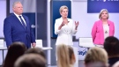 Liberal Premier Kathleen Wynne, centre, Progressive Conservative Leader Doug Ford, left, and NDP Leader Andrea Horwath take part in the Ontario Leaders debate in Toronto on Monday, May 7, 2018. THE CANADIAN PRESS/Frank Gunn