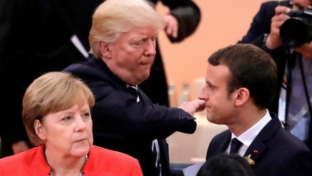 Angela Merkel Donald Trump and Emmanuel Macron