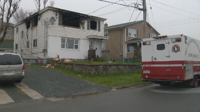 A woman sustained a broken ankle after she jumped from a second-storey window to escape a fire in Dartmouth.
