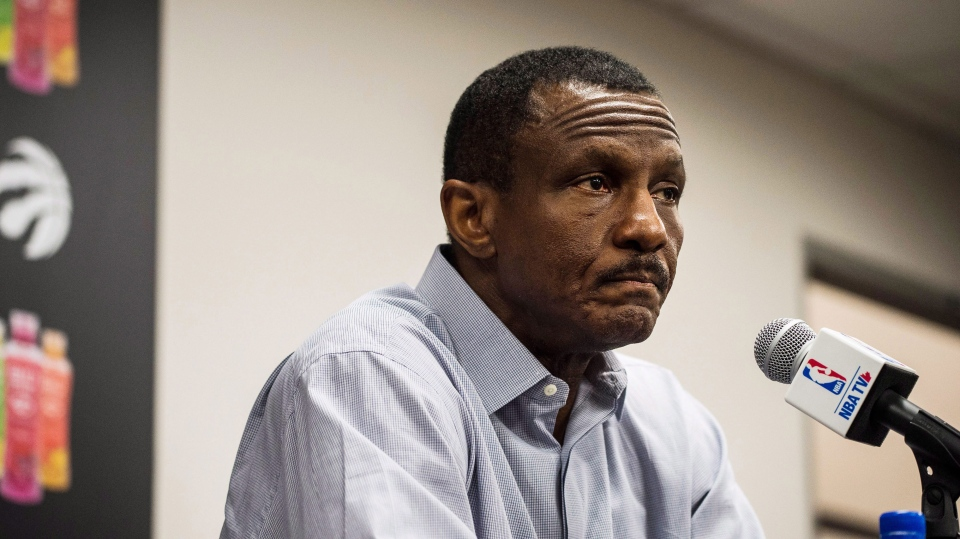 Toronto Raptors head coach Dwane Casey speaks to media at an end-of-season availability in Toronto on May 9, 2018. Dwane Casey has paid the price for the Toronto Raptors' shocking playoff exit. The most successful coach in Raptors history was fired today after Toronto was eliminated by the Cleveland Cavaliers for the third consecutive season in a four-game sweep. The 61-year-old coach led the Raptors to four Atlantic Division titles in five seasons, and three consecutive 50-win seasons. THE CANADIAN PRESS/Aaron Vincent Elkaim