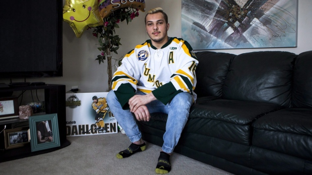 Kaleb Dahlgren at home in Saskatoon