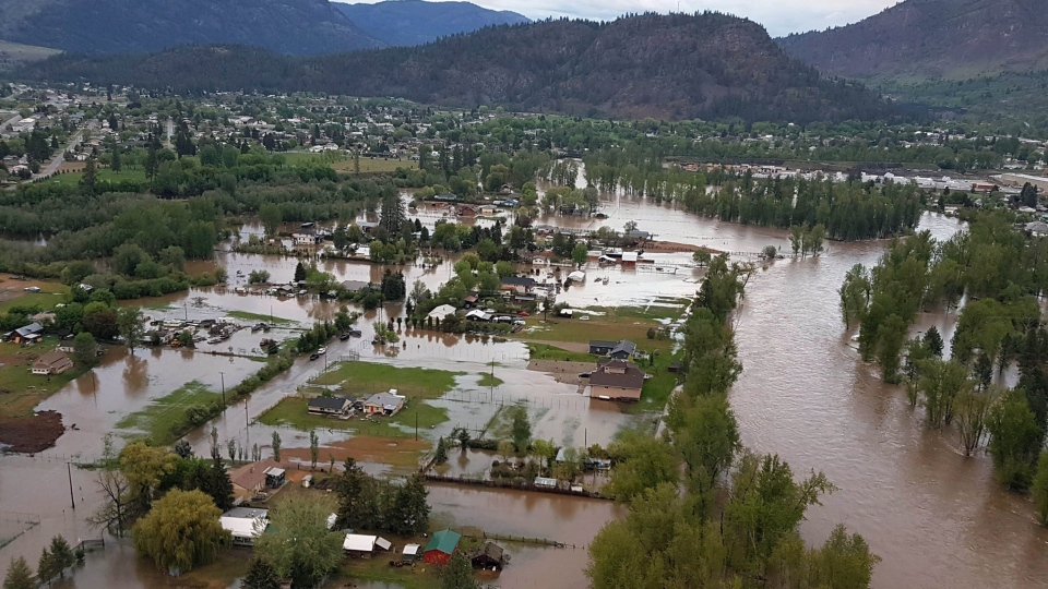 Flooding is seen in Grand Forks B.C. in this undated handout photo. (THE CANADIAN PRESS/HO, Regional District of Kootenay Boundary)