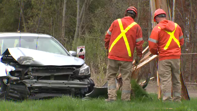 A collision on Townline Road in Cambridge left one person hurt and a vehicle and a hydro pole damaged.