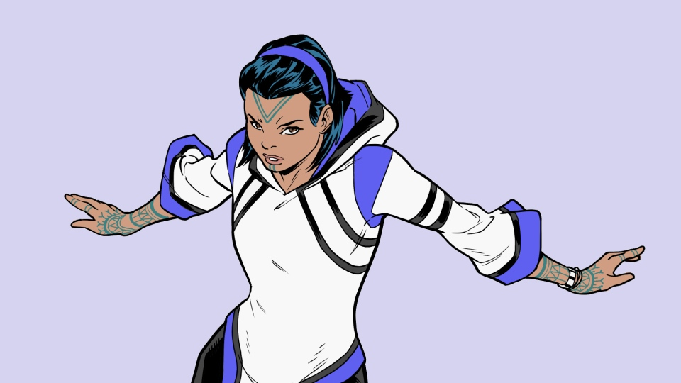 Snowguard, Marvel's first Inuit superhero. (Line art by Sean Izaakse. Colors by Marcio Menyz. Champions and all related content copyright © Marvel Comics)