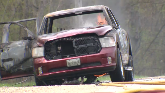A pickup truck catches fire on New Dundee Road. (May 12, 2018)