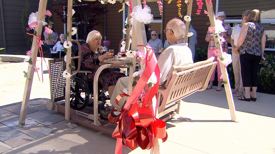 Joyce and Brian Bourke took the first ride on a special wheelchair swing installed at their care home in Burnaby on the day of their 67th wedding anniversary.