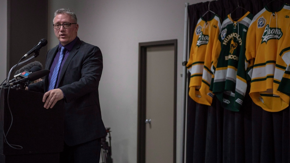 Kevin Garinger, President of the Humboldt Broncos, speaks during a media event at Elgar Petersen Arena in Humboldt, Sask., on Sunday, April 8, 2018. (THE CANADIAN PRESS/Liam Richards)