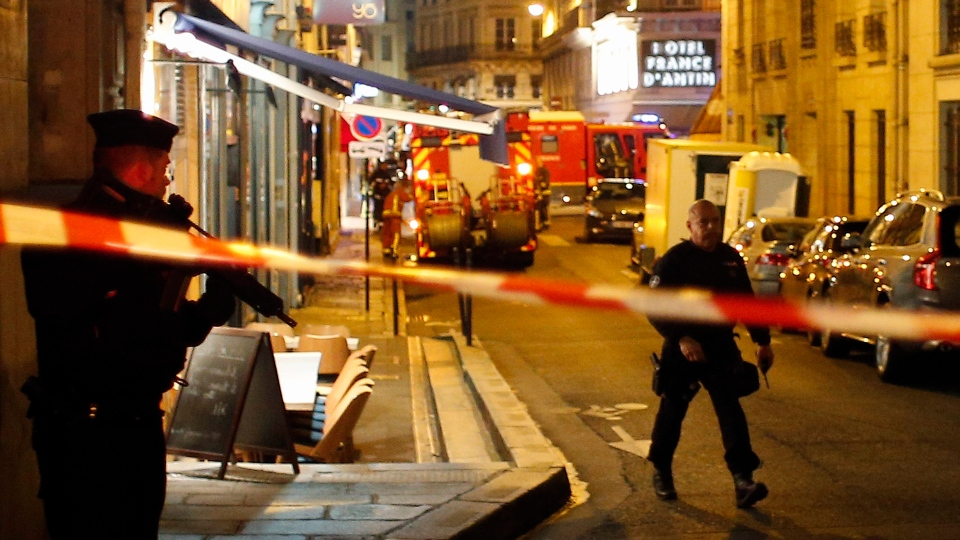 Police officers cordon off the area after a knife attack in central Paris, Saturday May 12, 2018. (AP Photo/Thibault Camus)