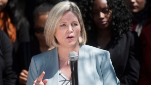 Ontario NDP Leader Andrea Horwath speaks at a gathering on Mother's Day in the Beaches-East York riding in Toronto, Sunday, May 13, 2018. She announced that 56 per cent of the NDP candidates are women. THE CANADIAN PRESS/Marta Iwanek
