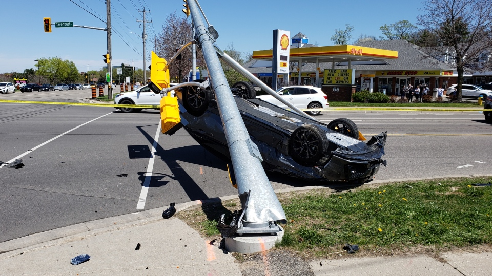One person escaped with minor injuries after crashing into a traffic light. (May 13, 2018)