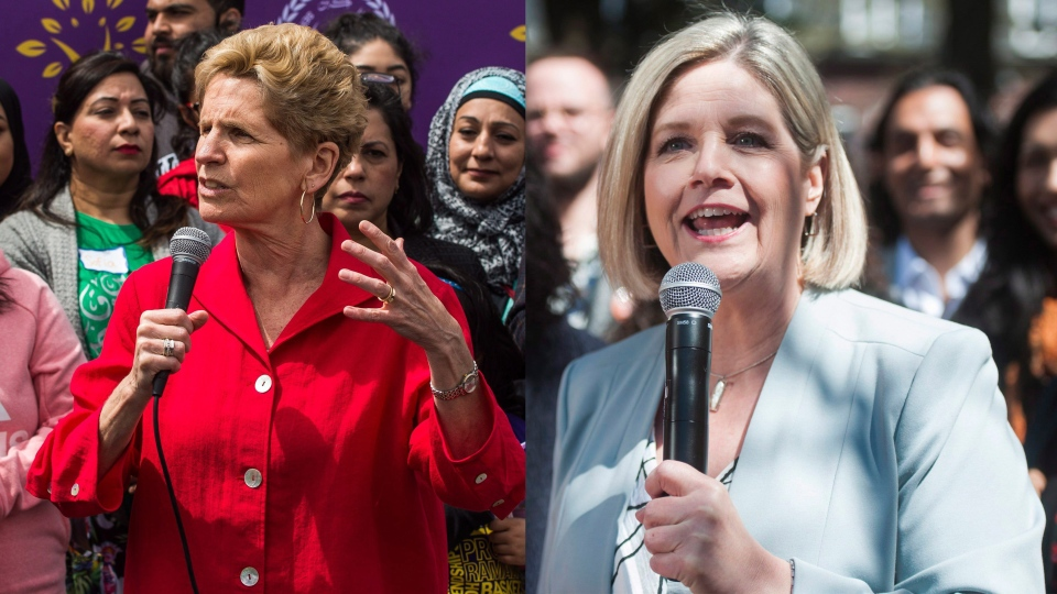 Ontario Premier Kathleen Wynne, left, and Ontario NDP Leader Andrea Horwath, right, are seen in this composite image.