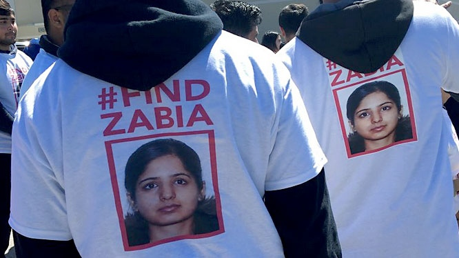 Friends, family and volunteers search for 30-year-old Zabia Afzal on Sunday. (Miranda Anthistle/CTV News Toronto)