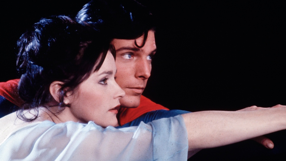 "This file photo, released by DC Comics, shows actors Christopher Reeve, as Superman, and Margot Kidder, as Lois Lane in a scene from the 1978 film ""Superman."" (AP / TMS & DC Comics Inc.)"