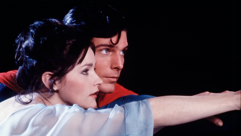 "This file photo, released by DC Comics, shows actors Christopher Reeve, as Superman, and Margot Kidder, as Lois Lane in a scene from the 1978 film ""Superman."" (AP Photo/TMS & DC Comics Inc.)"