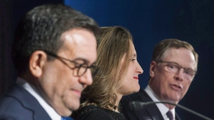Foreign Affairs Minister Chrystia Freeland and Mexico's Secretary of Economy Ildefonso Guajardo Villarrea look on as United States Trade Representative Robert Lighthizer delivers his statements to the media during the sixth round of negotiations for a new North American Free Trade Agreement in Montreal, Jan. 29, 2018. THE CANADIAN PRESS/Graham Hughe