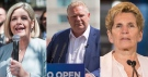 Ontario NDP Leader Andrea Horwath, Ontario PC Leader Doug Ford and Ontario Liberal Leader Kathleen Wynne. (Marta Iwanek/Tara Walton/Chris Young/THE CANADIAN PRESS)
