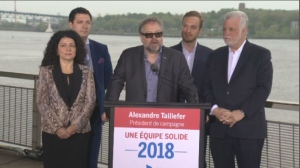 With this new appointment, Taillefer (center) will be left in charge of the party's communication strategy and recruitement. (CTV Montreal)