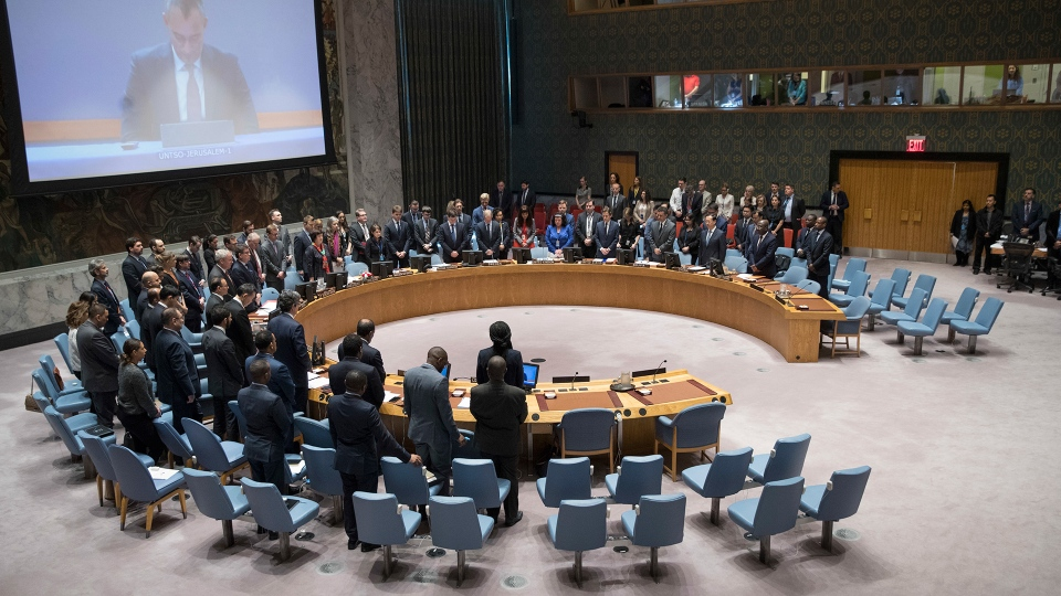 The United Nations Security Council observes a moment of silence for those killed during the deadly violence along the Israel-Gaza border before a meeting to discuss the situation, Tuesday, May 15, 2018, at United Nations headquarters. (AP / Mary Altaffer)