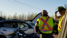 Emergency crews respond to a collision on Cape Breton Road in Irishtown, N.B. on May 14, 2018. (Wade Perry)