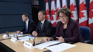 Senior government officials Marie Lemay, right to left, Alfred Tsang and Ryan Pilgrim hold a technical briefing on the Phoenix pay system at the National Press Theatre, in Ottawa in an October 5, 2016, file photo. THE CANADIAN PRESS/Sean Kilpatrick