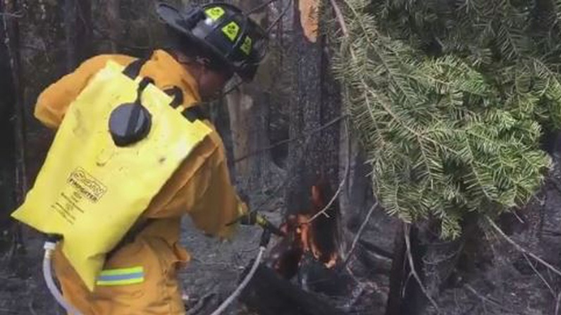 Fire crews work to contain hot spots near Miramichi on May 15, 2018.