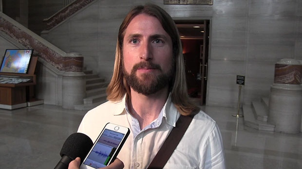 David Stephan speaks to the media outside of court on May 15, 2018. (The Canadian Press)