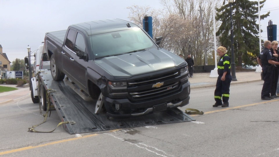 The vehicle involved in a high speed police chase across parts of Simcoe County that ended in downtown Barrie on Tuesday May 15, 2018. (Rob Cooper/CTV Barrie)
